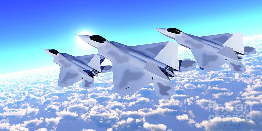 Three F-22 Fighter Jets Digital Art