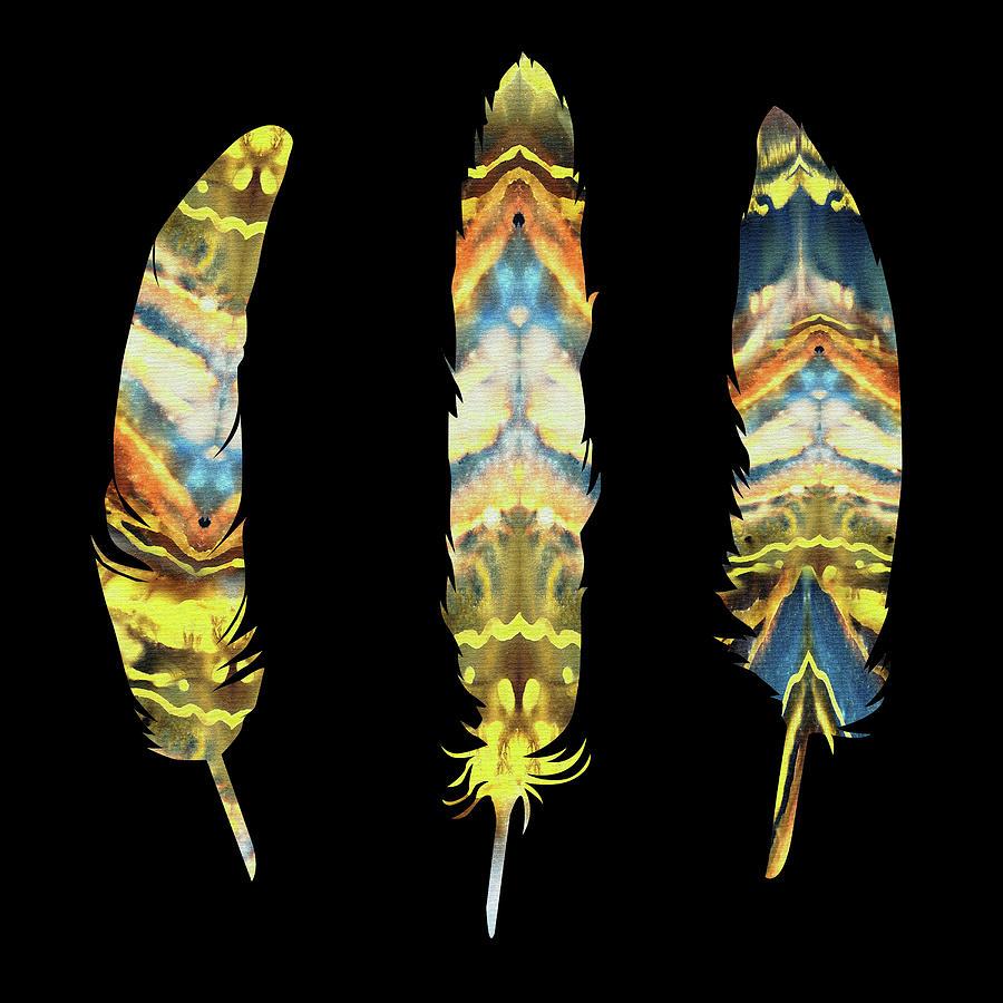 Yellow Painting - Three Gorgeous Watercolor Feathers On Black  by Irina Sztukowski