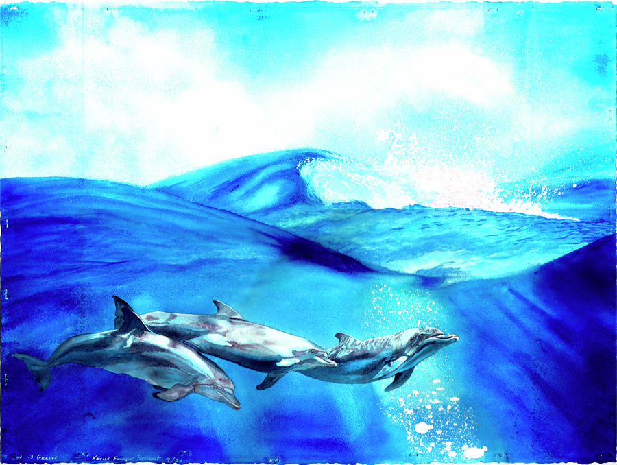 Dolphins Painting - Three Graces by Xavier Francois Hussenet