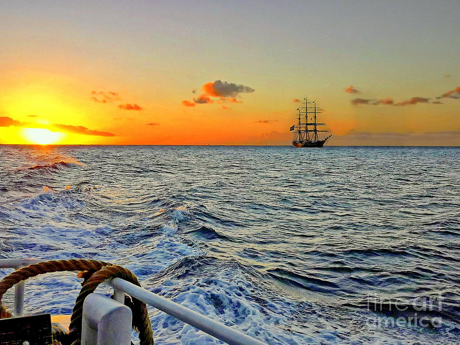 Caribbean Photograph - Three Mast Sailboat On The Caribbean Sea by Louise Lavallee