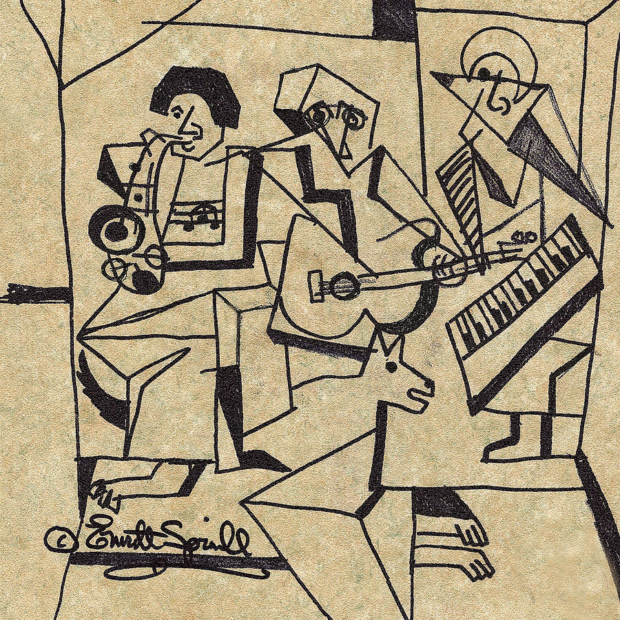 Three Musicians Drawing