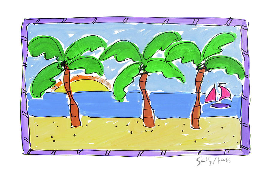 Water Painting - Three Palm Trees with Purple Trim by Sally Huss