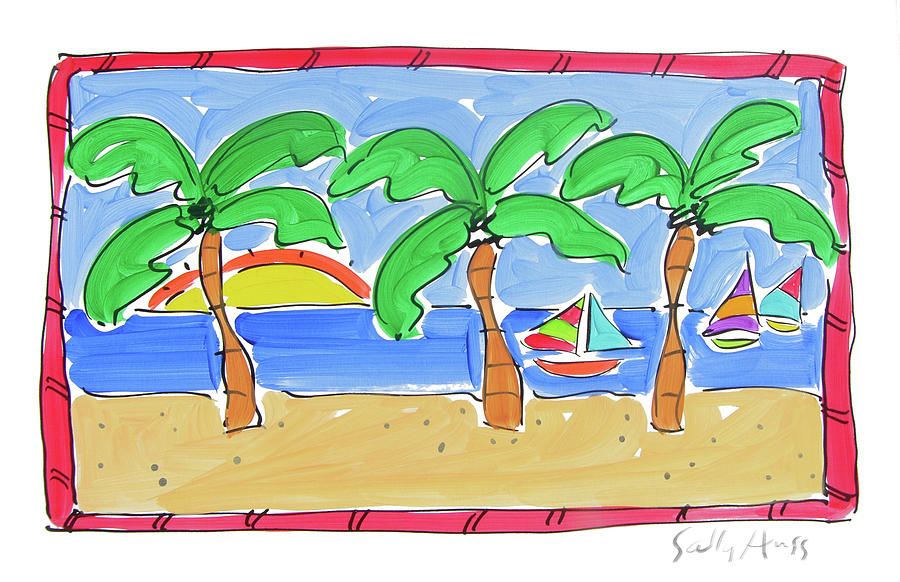 Water Painting - Three Palm Trees with Red Trim by Sally Huss