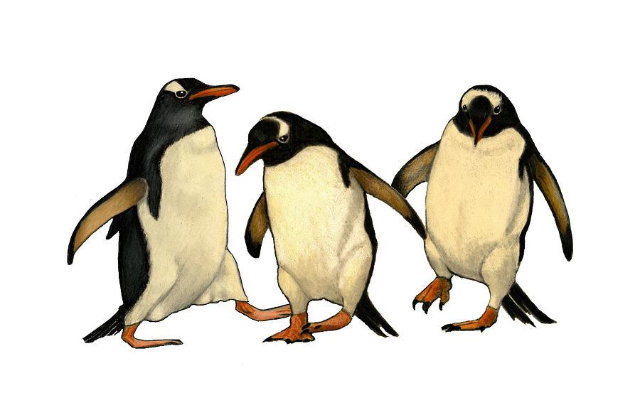 Three Penguins Dancing Drawing