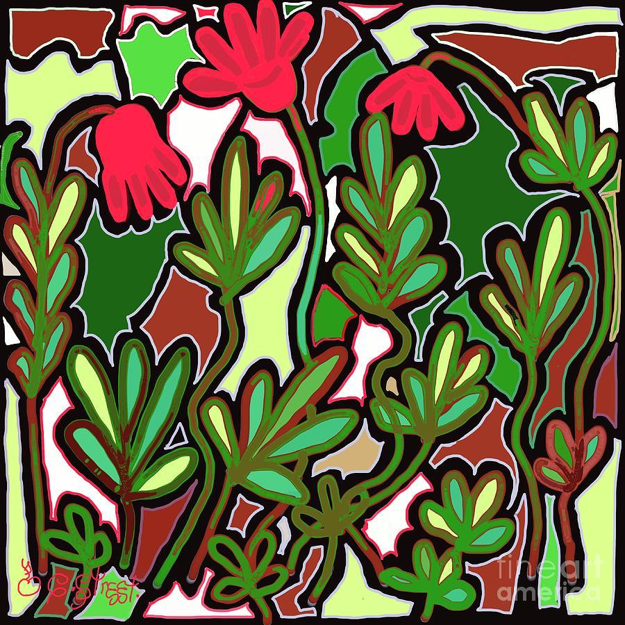 Three Red Flower Plantscape Digital Art