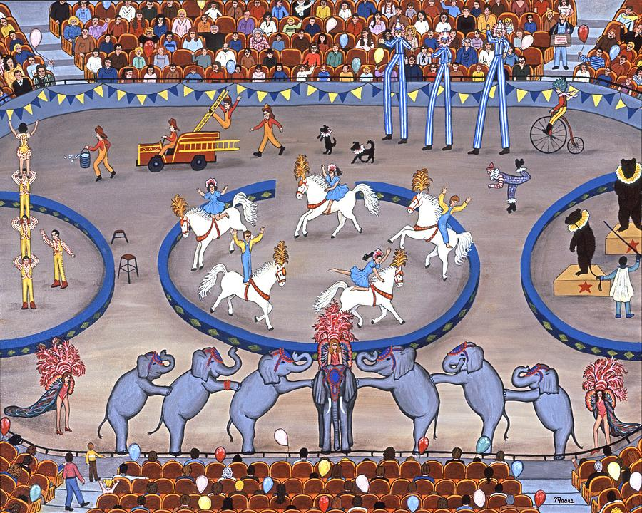 Circus Painting - Three Ring Circus by Linda Mears