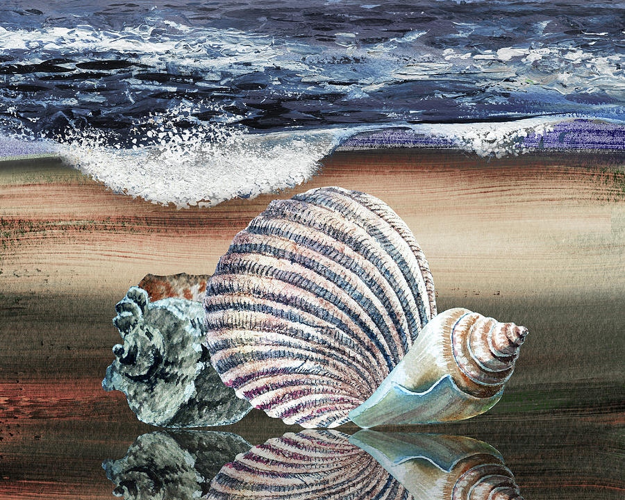 Three Seashells On The Beach Watercolor Art Painting