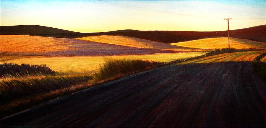 Sunrise Painting - Three Sisters Morning  Hills near Genesee  Washington by Leonard Heid