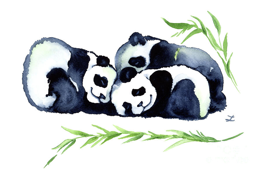 Three Sleeping Baby Panda Bears Painting