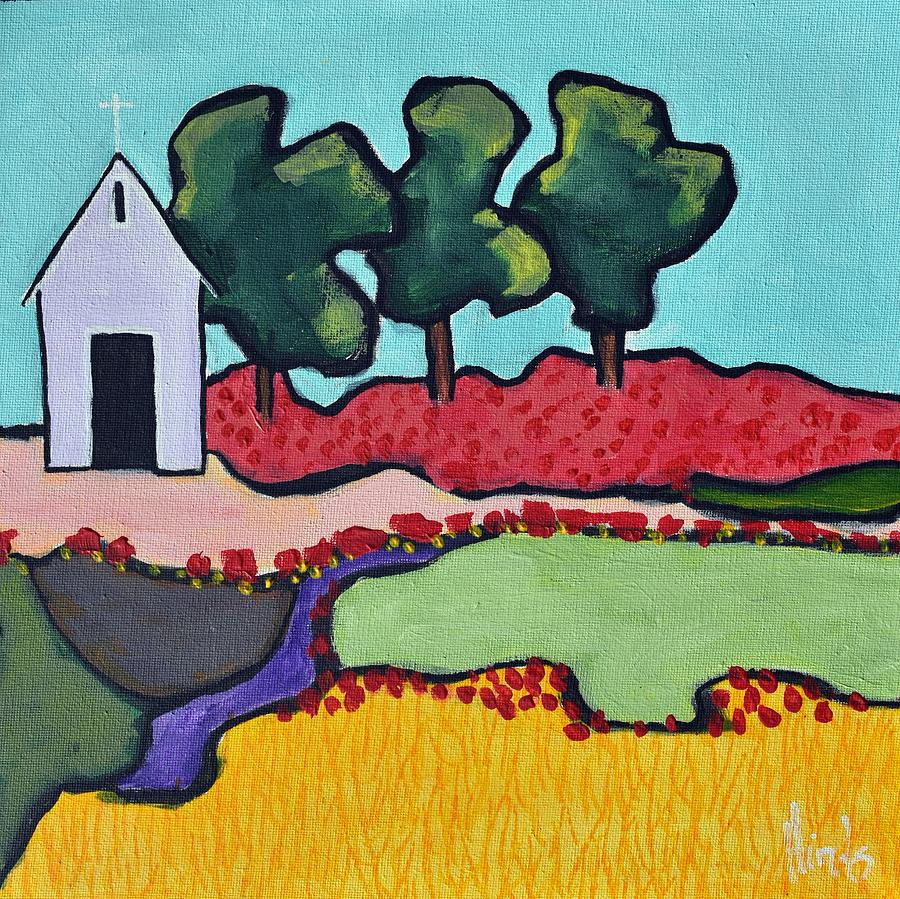 Three Trees And A Cross Painting