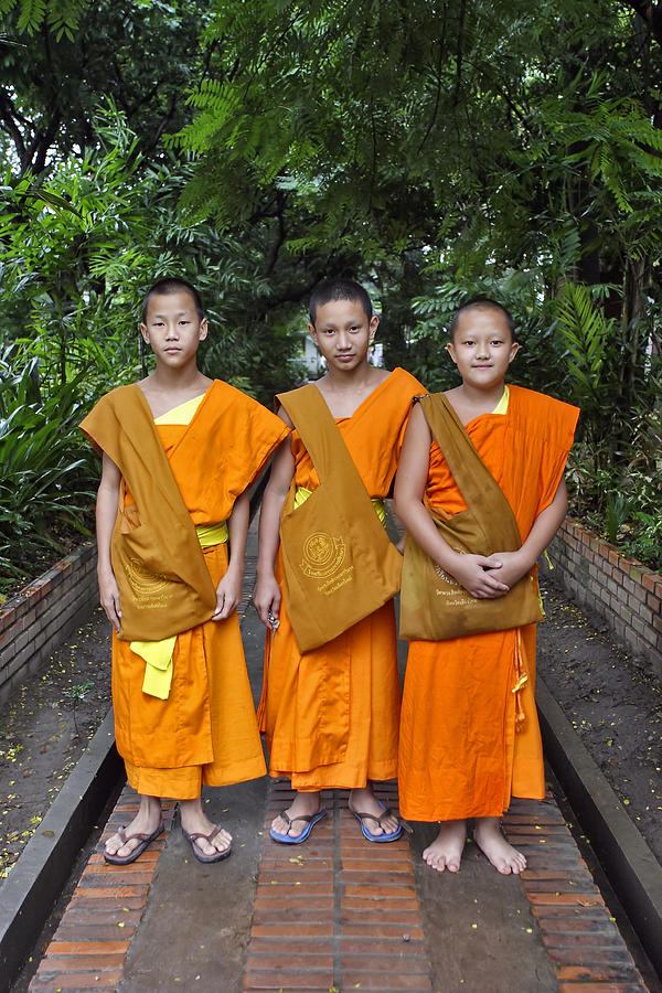 3scape Photograph - Three Young Monks by Adam Romanowicz