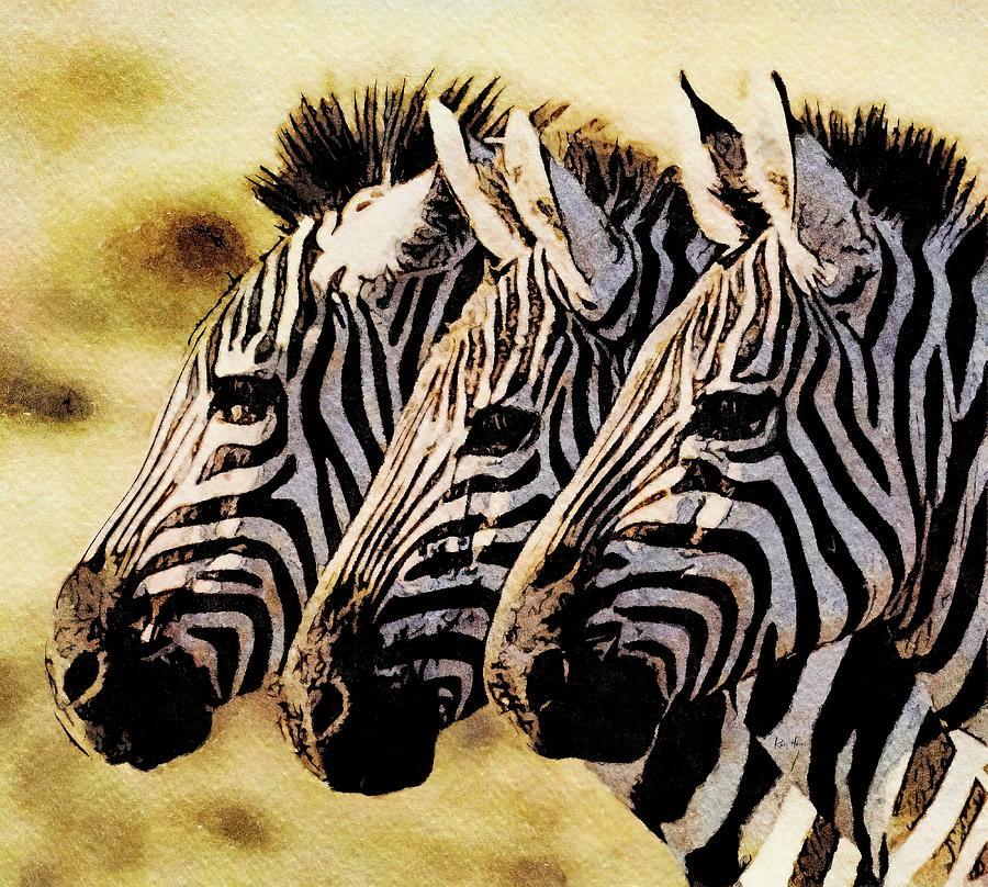 Three Zebras Painting