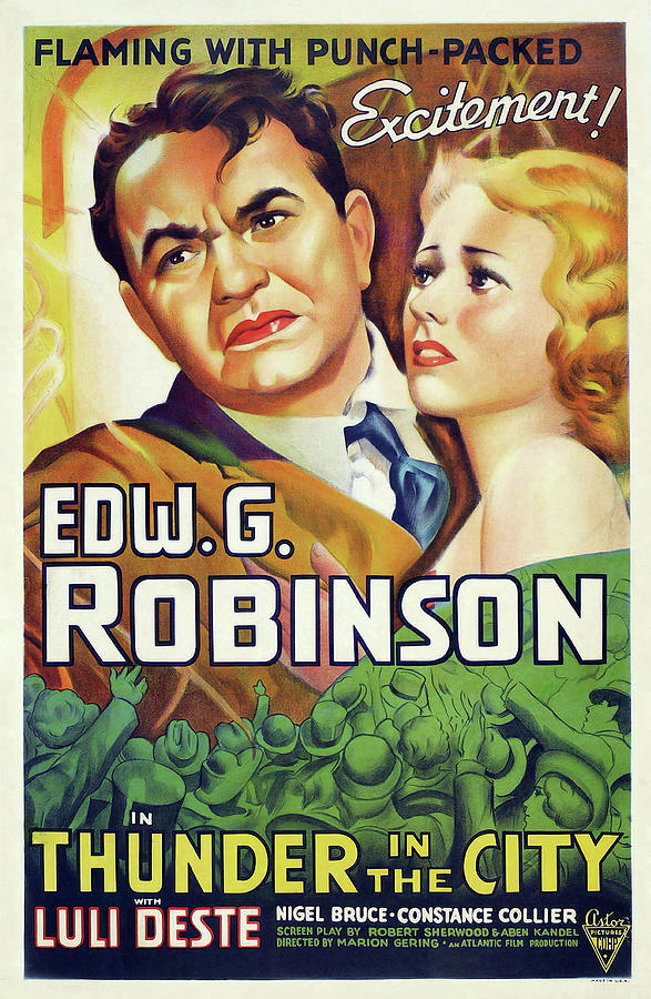 thunder In The City Movie Poster, With Edward G. Robinson, 1937 Mixed Media