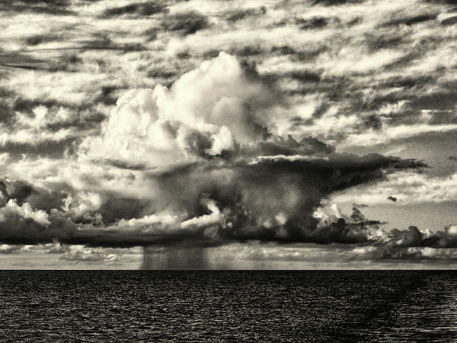Thunderstorm at Sea in Black and White by Bill Swartwout Photography