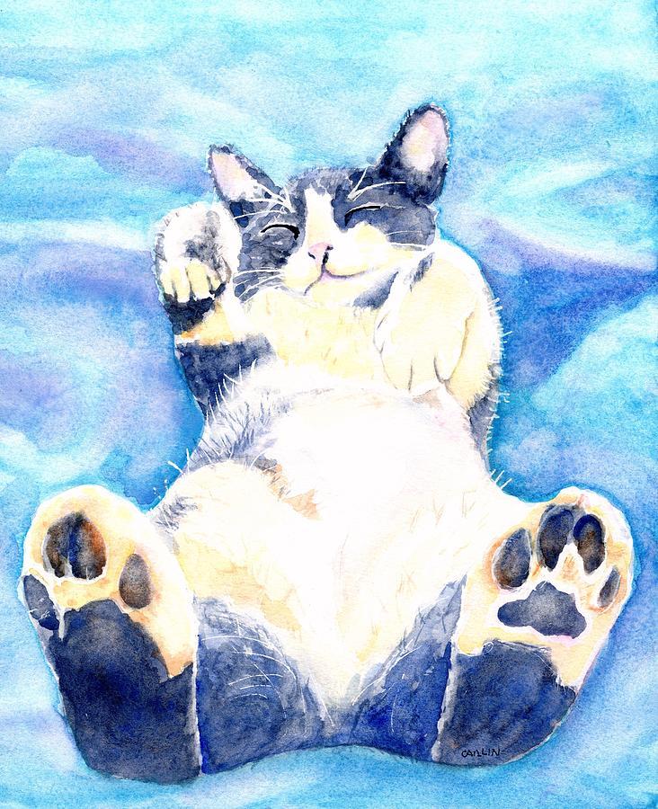Tickle Toes Cat Nap by Carlin Blahnik CarlinArtWatercolor