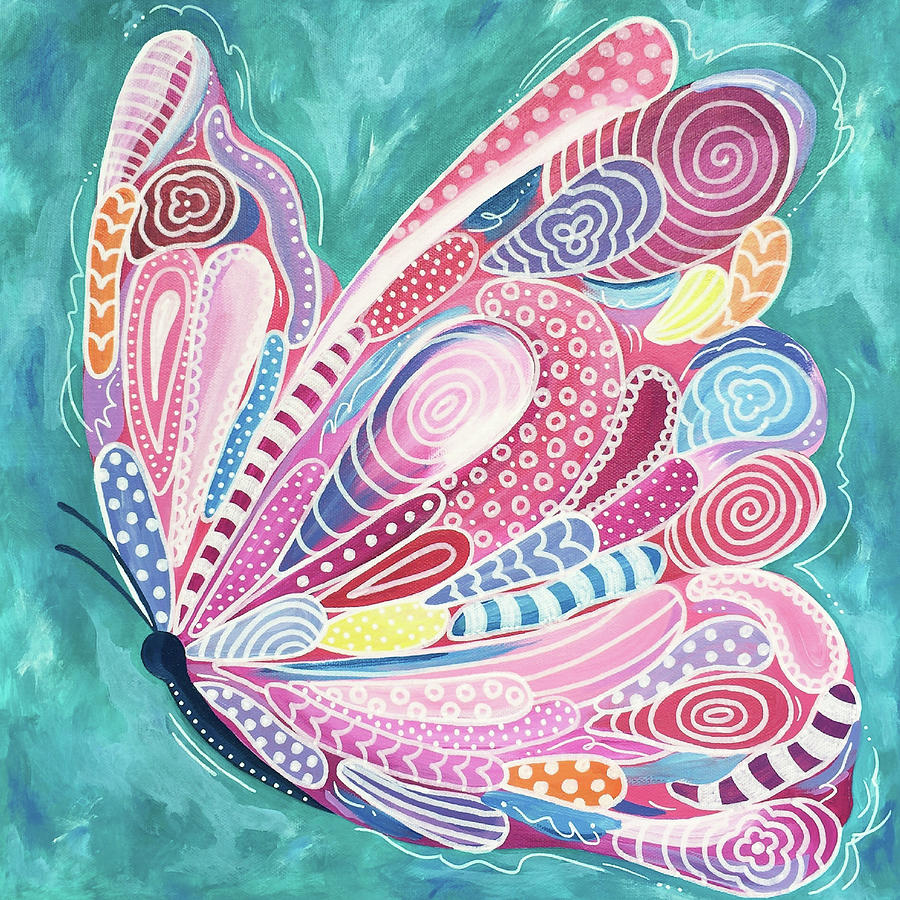 Butterfly Painting - Tickled Pink by Beth Ann Scott