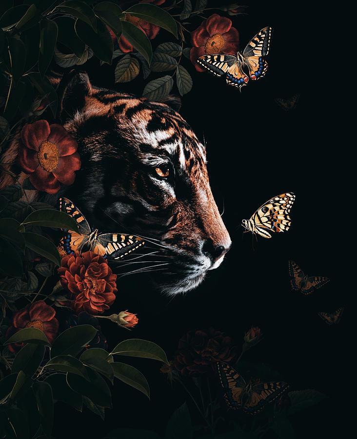 Tiger Chasing Butterflies Digital Art