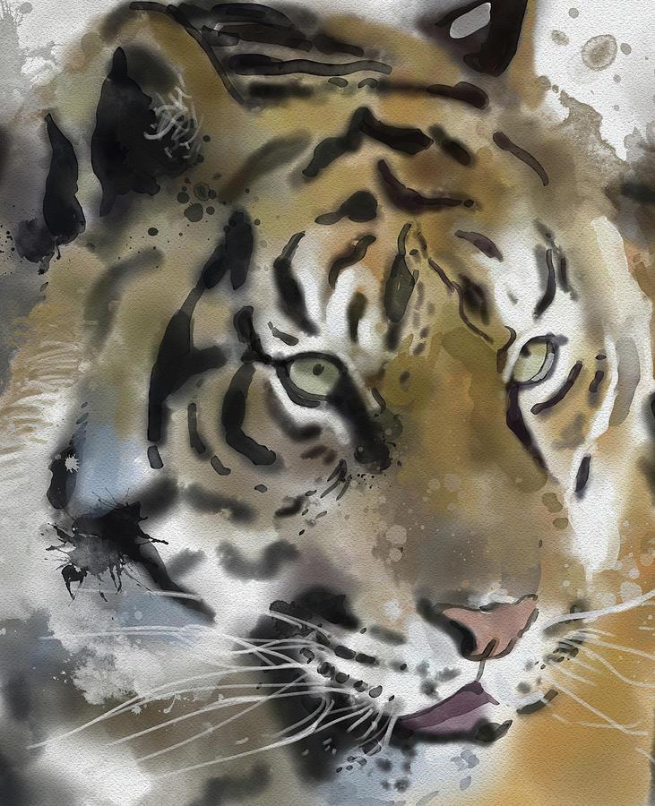 Tiger Close Up Digital Art