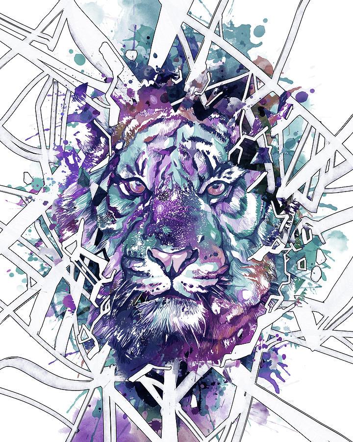 Tiger Face Abstract Digital Art