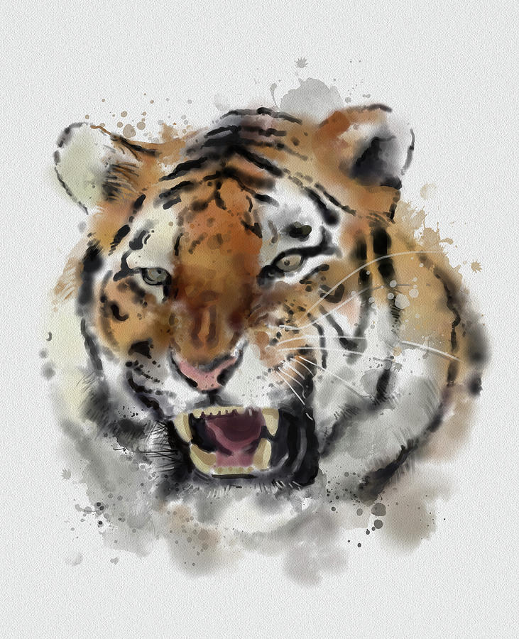 Tiger Face Vintage Digital Art