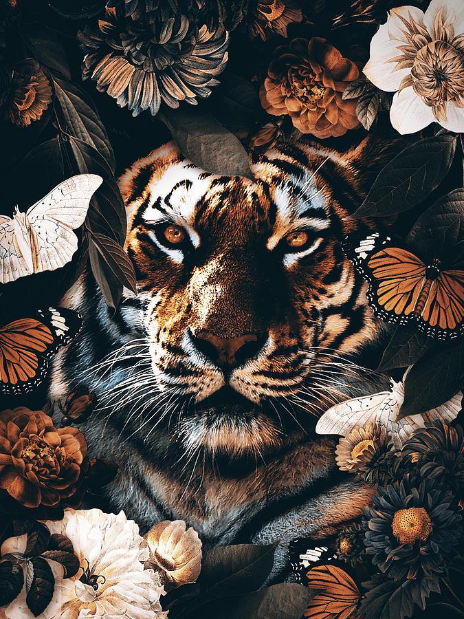 Tiger In The Garden Digital Art