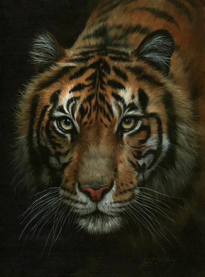 Tiger Portrait Intense Painting