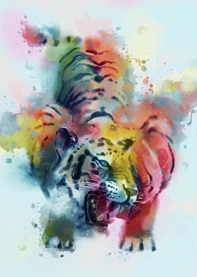 Tiger Roar Colorful Digital Art