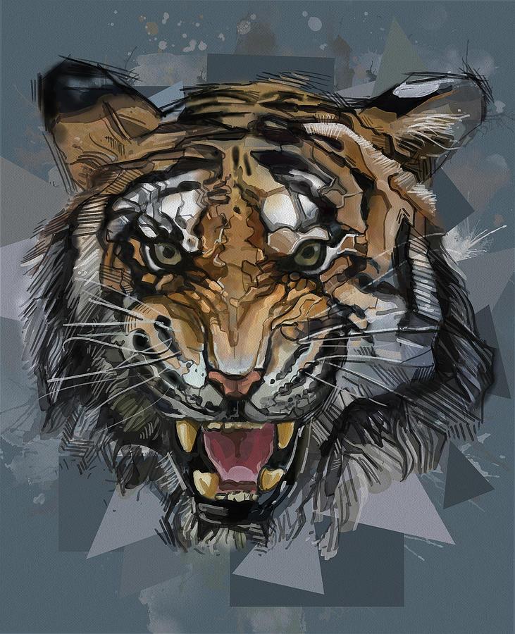 Tiger Roaring Abstract Digital Art