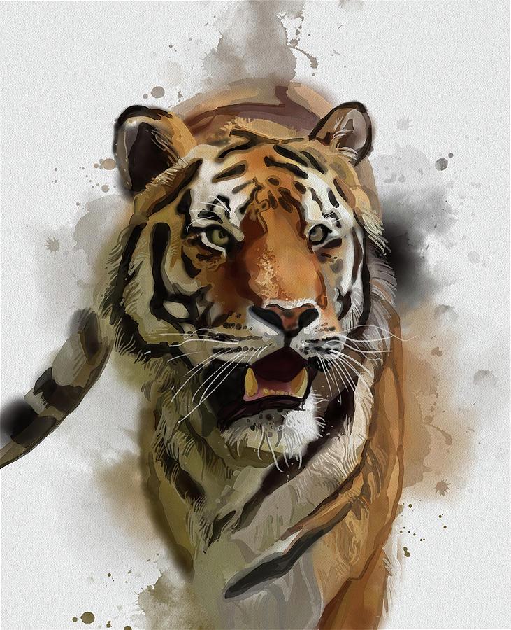 Tiger Vintage Digital Art