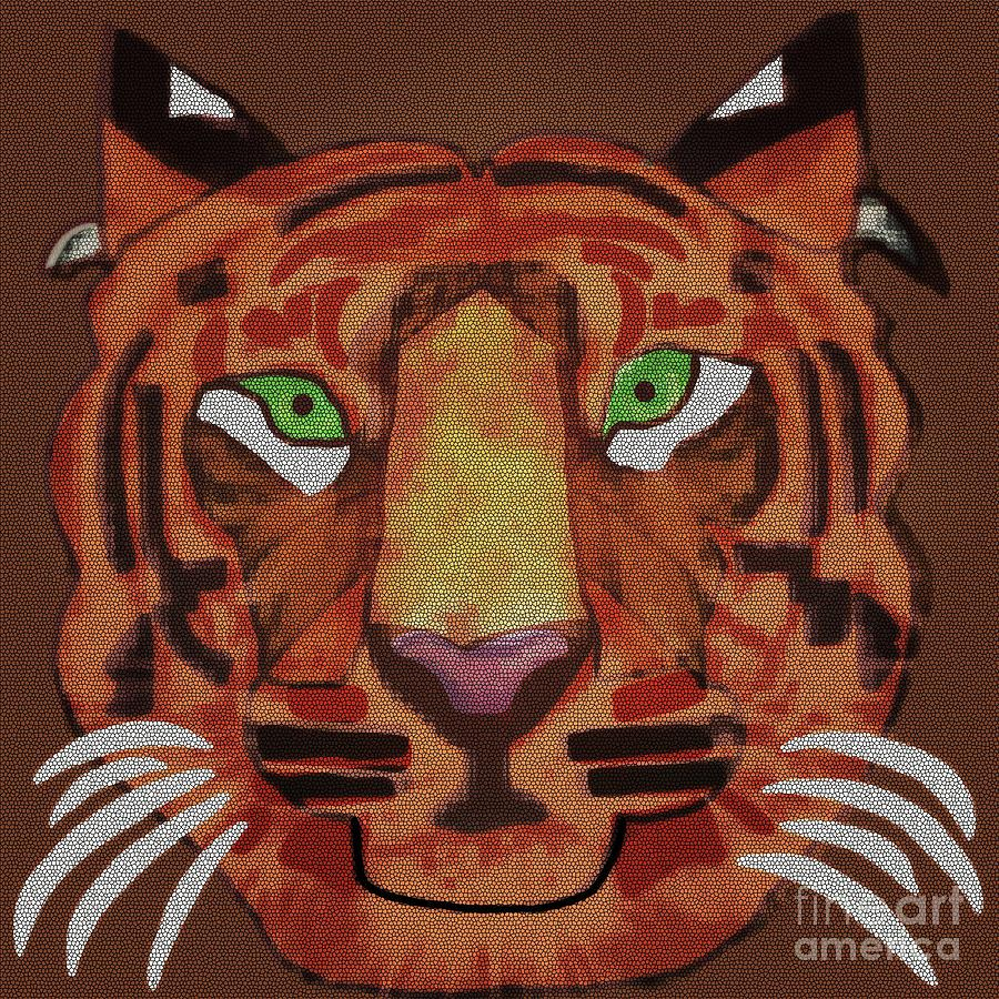 Tigeress Stained Glass by Priscilla Wolfe