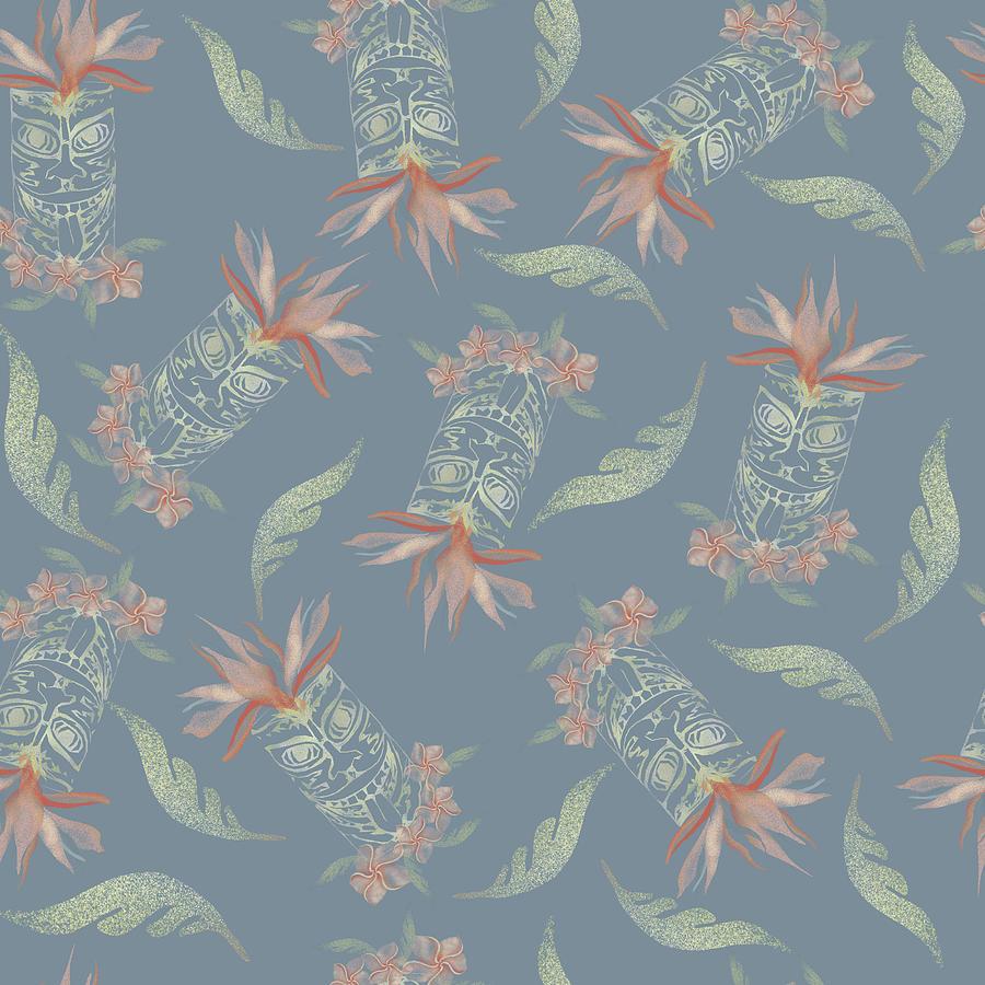 Tiki Floral Pattern Digital Art