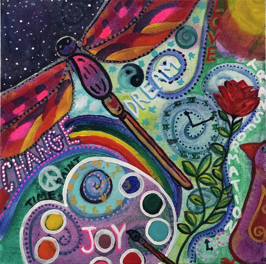 Dragonfly Painting - Time 2 Paint by Lori Spielman
