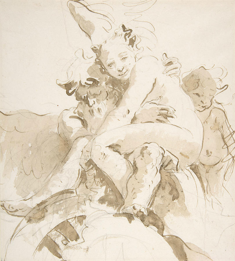 Italian Painters Drawing - Time Holding A Nude Woman, A Putto At Right by Giovanni Battista Tiepolo