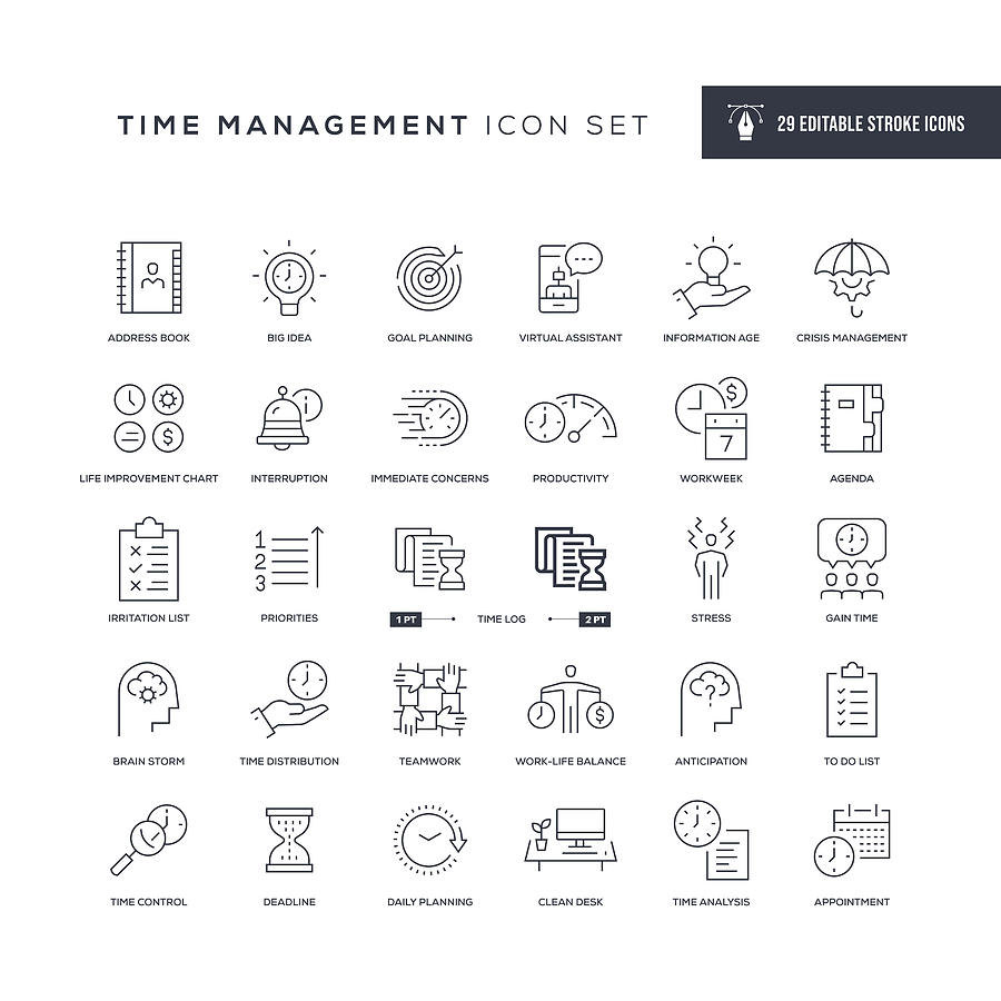 Time Management Editable Stroke Line Icons Drawing by Enis Aksoy