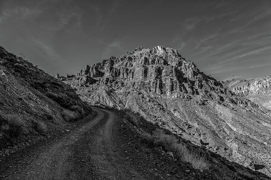 Titus Canyon Trail - Black And White Photograph