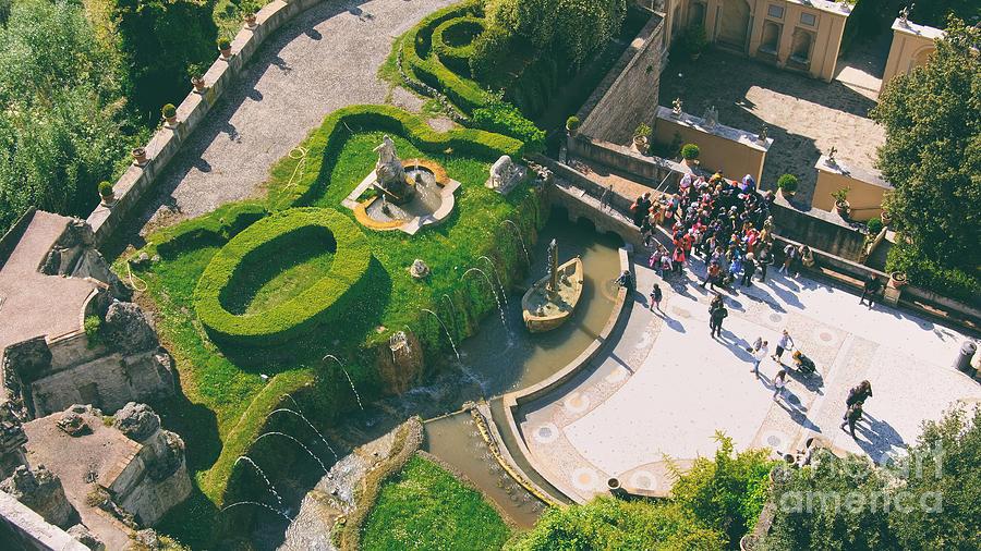 Tivoli Italy aerial view Villa D Este gardens Rometta fountain famous fountains plants UNESCO site italy lazio region Rome province by Luca Lorenzelli