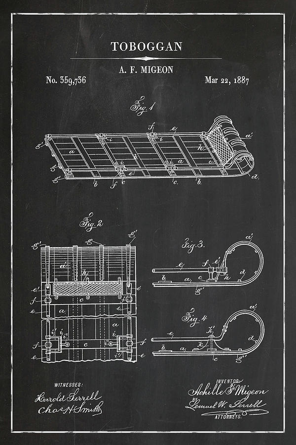 Toboggan Skate Blueprint Patent in Chalk Winter Patent Art by Florian Rodarte