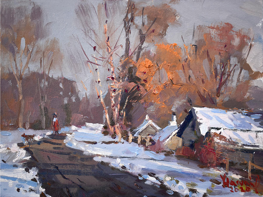 Snow Painting - Today At Mayors Park by Ylli Haruni