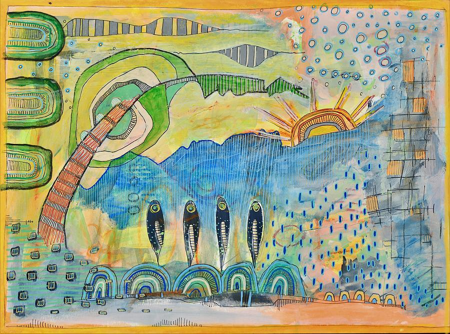 Abstract Mixed Media - Todays Catch by Deanna Doyle