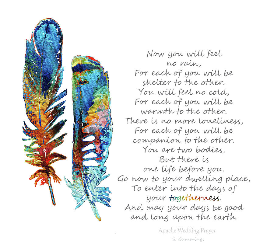 Feathers Painting - Togetherness - Native American Wedding Prayer - Sharon Cummings by Sharon Cummings