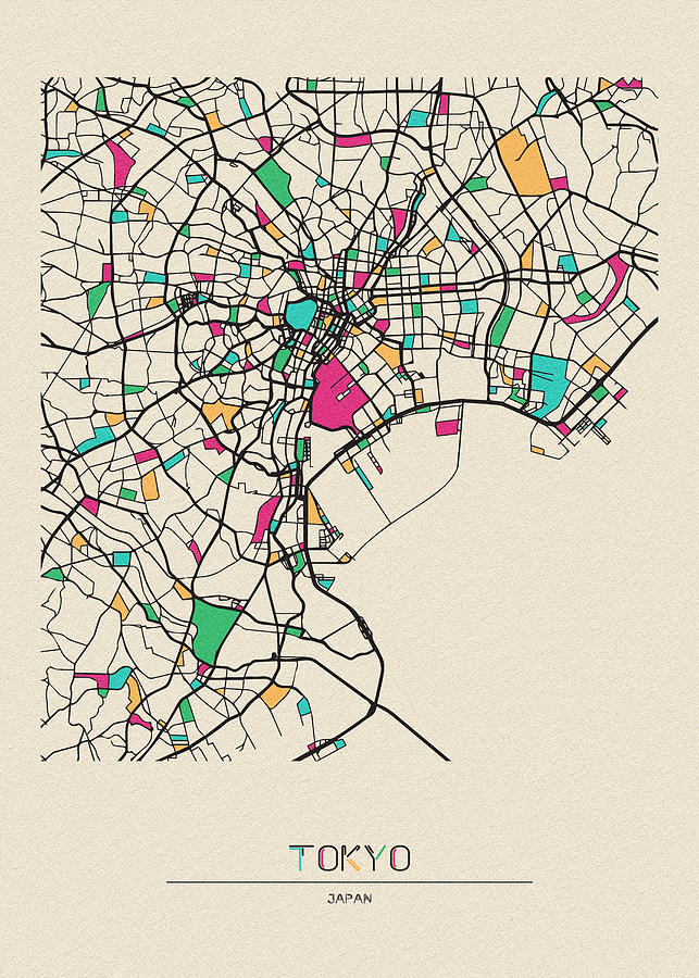 Tokyo Japan City Map Drawing By Inspirowl Design