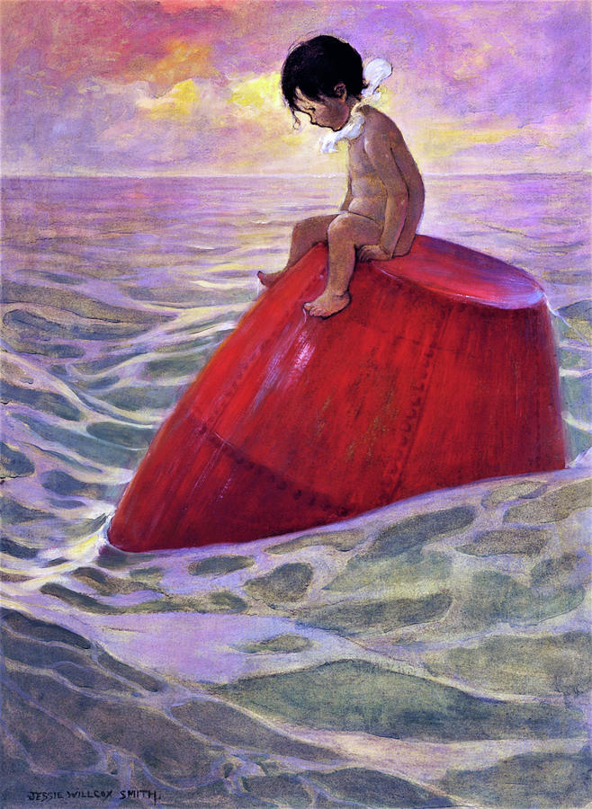 New York Painting - Tom Sitting On A Buoy - Digital Remastered Edition by Jessie Willcox Smith