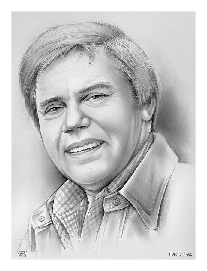 The Storyteller Drawing - Tom T. Hall - pencil by Greg Joens