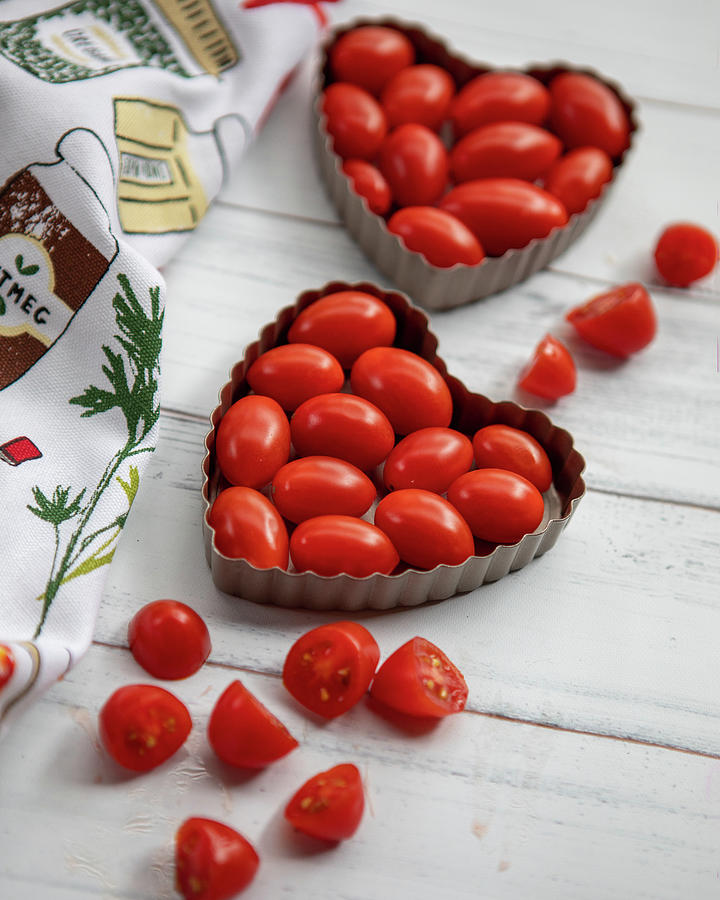 Tomatoes In Heart Tins #2 Photograph