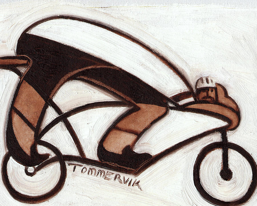 Cycling Painting - Tommervik Abstract Cyclist Resting Art Print by Tommervik