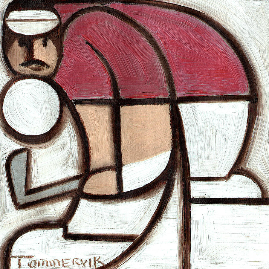 Chip Shot Painting - Tommervik Abstract Golfer Chip Shot Art Print by Tommervik