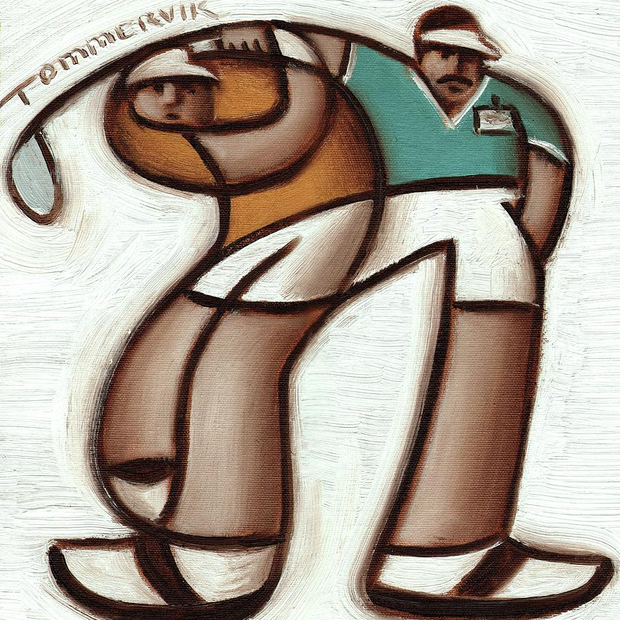 Golf Instructor Painting - Tommervik Golf Instructor Art Print by Tommervik