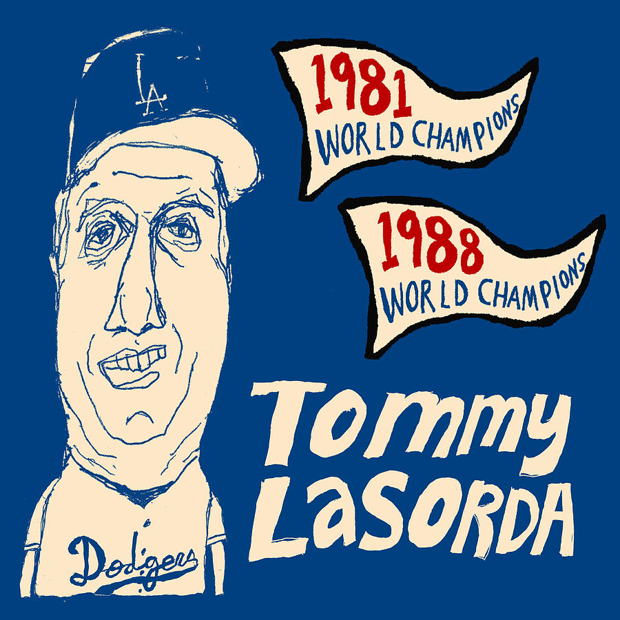 Los Angeles Dodgers Painting - Tommy Lasorda Los Angeles Dodgers by JB Perkins