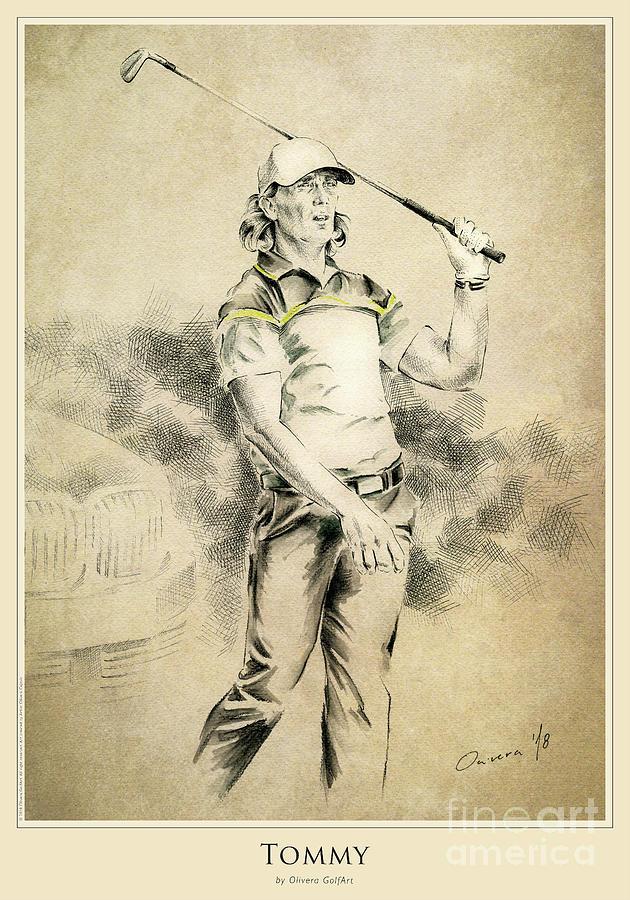 Golfer Mixed Media - Tommy - Poster by Olivera Cejovic