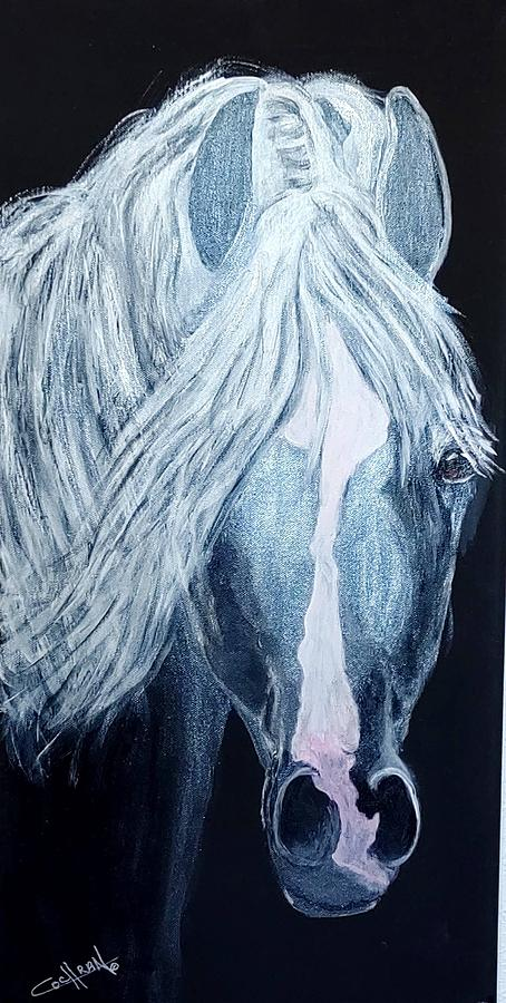 Horse Painting - Too Much Hair by Diana Cochran